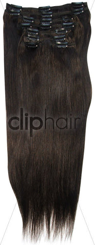 22 Inch Full Head Remy Clip in Human Hair Extensions - Darkest Brown (#2)