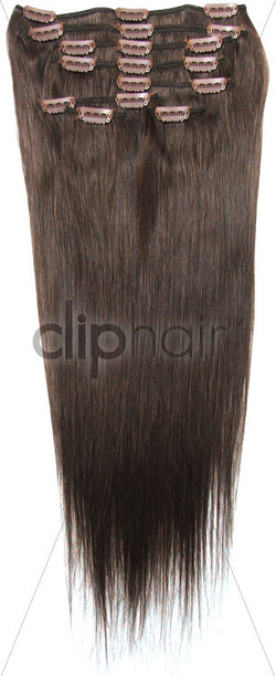 18 Inch Full Head Remy Clip in Human Hair Extensions - Medium Brown (#4)