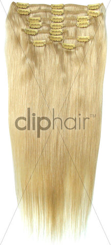 24 Inch Full Head Remy Clip in Human Hair Extensions - Bleach Blonde (#613)