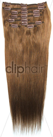 18 Inch Full Head Remy Clip in Human Hair Extensions - Light/Chestnut Brown (#6)