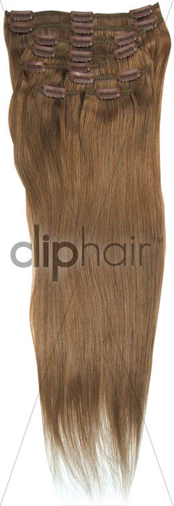 18 Inch Full Head Remy Clip in Human Hair Extensions - Medium Ash Brown (#8)