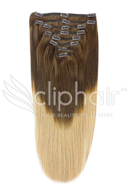 18 Inch Double Wefted Full Head Remy Clip in Human Hair Extensions - Dip Dye (#T4/27)