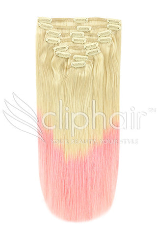 20 Inch Double Wefted Full Head Remy Clip in Human Hair Extensions - Dip Dye (#T60/Pink)