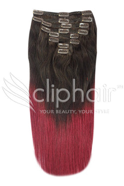 18 Inch Double Wefted Full Head Remy Clip in Human Hair Extensions - Dip Dye (#T2/530)