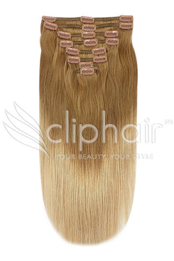 24 Inch Double Wefted Full Head Remy Clip in Human Hair Extensions - Dip Dye (#T6/27)