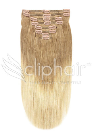 18 Inch Double Wefted Full Head Remy Clip in Human Hair Extensions - Dip Dye (#T27/613)