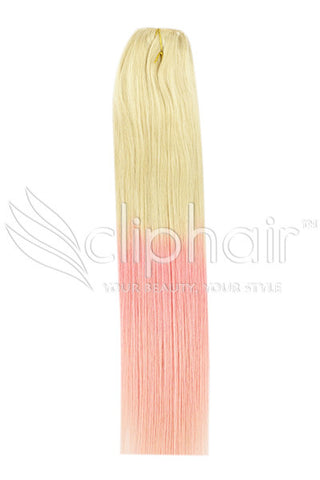 18 Inch Remy Human Hair Weft/Weave Extensions - Dip Dye (#T60/PINK)