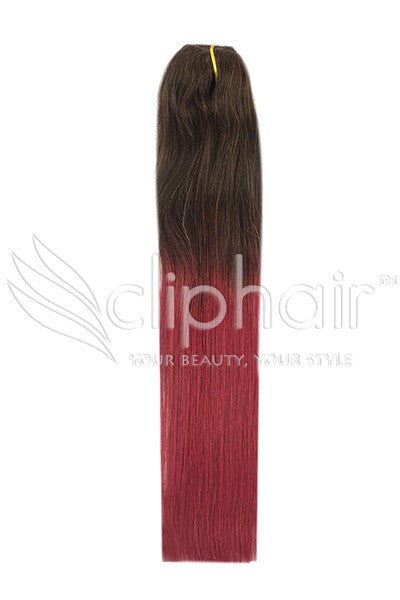 18 Inch Remy Human Hair Weft/Weave Extensions - Dip Dye (#T2/530)