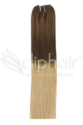 18 Inch Remy Human Hair Weft/Weave Extensions - Dip Dye (#T4/27)