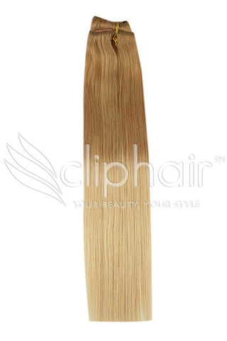 18 Inch Remy Human Hair Weft/Weave Extensions - Dip Dye (#T6/27)