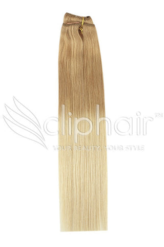 18 Inch Remy Human Hair Weft/Weave Extensions - Dip Dye (#T27/613)
