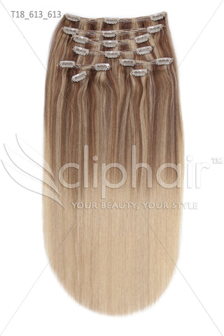 18 Inch Double Wefted Full Head Remy Clip in Human Hair Extensions - Dip Dye (#T18.613/#613)