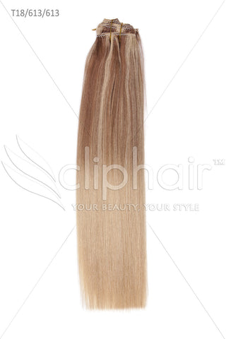 18 Inch Remy Human Hair Weft/Weave Extensions - Dip Dye (#T18.613/613)