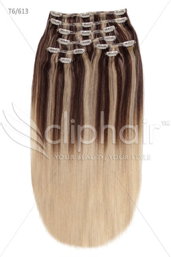 18 Inch Double Wefted Full Head Remy Clip in Human Hair Extensions - Dip Dye (#T6.613/#613)