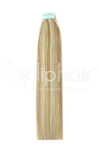 16 Inch Tape in Remy Human Hair Extension, Blonde Mix #12/16/613
