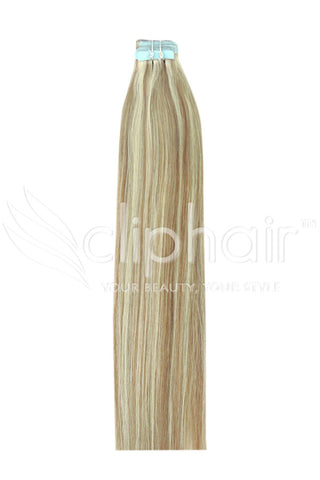 18 Inch Tape in Remy Human Hair Extension, Blonde Mix #18/613