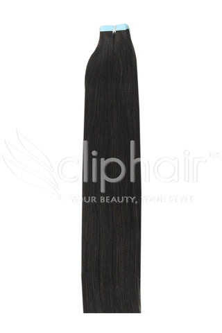 16 Inch Tape in Remy Human Hair Extension, Darkest Brown #2