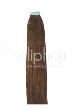 20 Inch Tape in Remy Human Hair Extension, Light/Chestnut Brown #6