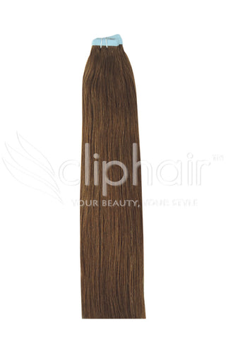 16 Inch Tape in Remy Human Hair Extension, Light/Chestnut Brown #6