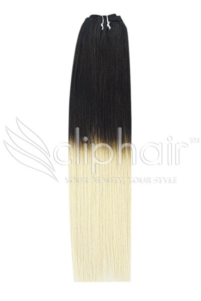 18 Inch Remy Human Hair Weft/Weave Extensions - Dip Dye (#T1B/60)