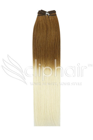 18 Inch Remy Human Hair Weft/Weave Extensions - Dip Dye (#T6/613)