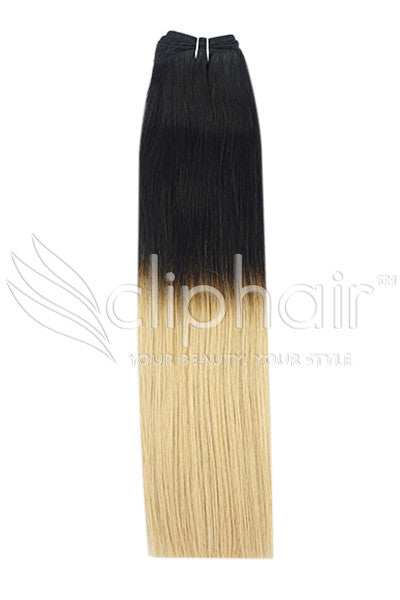 18 Inch Remy Human Hair Weft/Weave Extensions - Dip Dye (#T1/27)