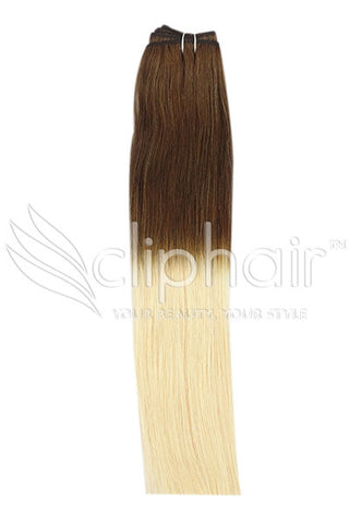 18 Inch Remy Human Hair Weft/Weave Extensions - Dip Dye (#T4/613)