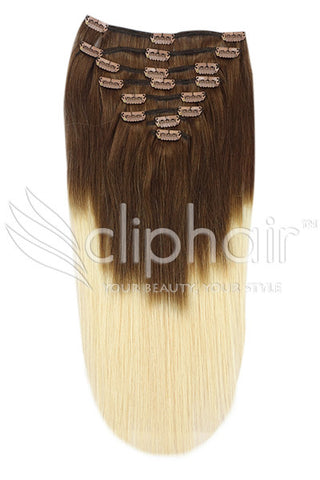 18 Inch Full Head Remy Clip in Human Hair Extensions - Dip Dye (#T4/613)