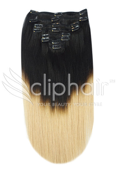 18 Inch Full Head Remy Clip in Human Hair Extensions - Dip Dye (#T1/#27)