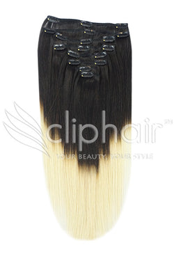 18 Inch Full Head Remy Clip in Human Hair Extensions - Dip Dye (#T1B/60)