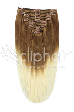 18 Inch Full Head Remy Clip in Human Hair Extensions - Dip Dye (#T6/613)
