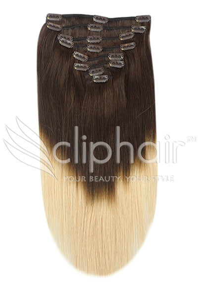 18 Inch Full Head Remy Clip in Human Hair Extensions - Dip Dye (#T2/#27)