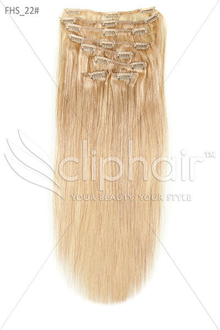 18 Inch Full Head Remy Clip in Human Hair Extensions - Light Ash Blonde (#22)