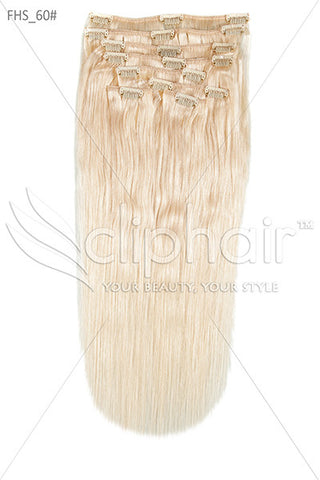 18 Inch Full Head Remy Clip in Human Hair Extensions - Lightest Blonde (#60)