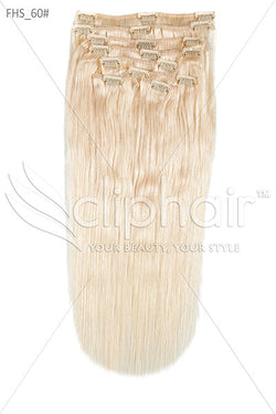 20 Inch Full Head Remy Clip in Human Hair Extensions - Lightest Blonde (#60)