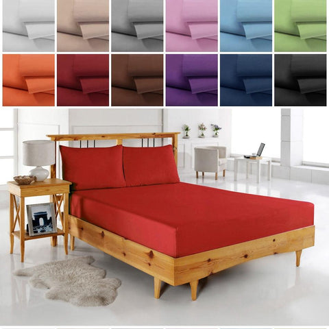 Solid Deep Pocket 4 Piece Bed Sheet Set Queen King Sizes ...