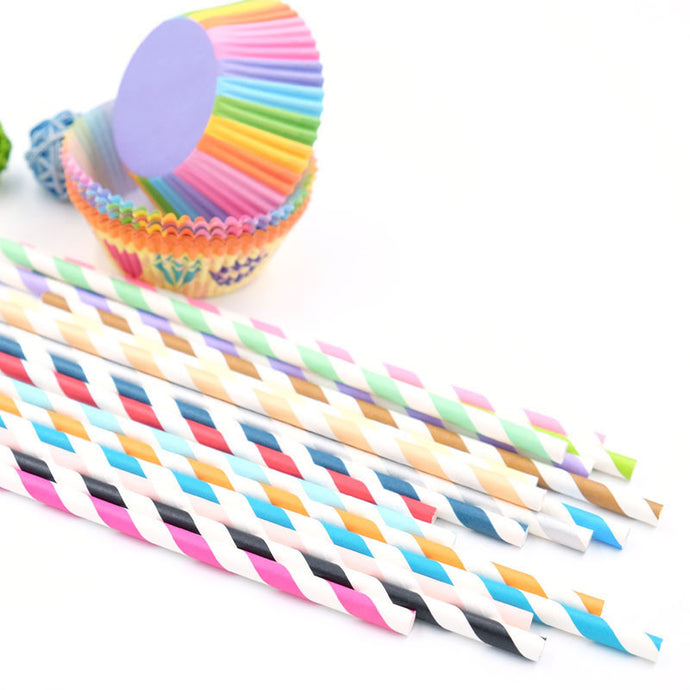 25pcs Colorful Striped Party Straws