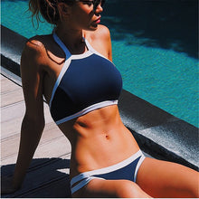 Blue Marley High Neck Bikini Set