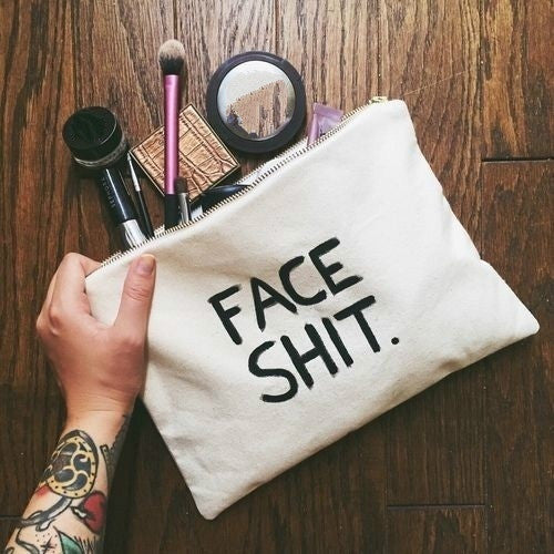 White/Black FACE SHIT Make Up Bag
