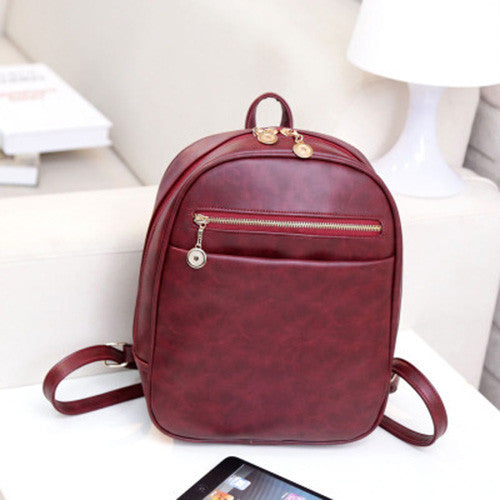 Vintage Wine Red Leather Backpack