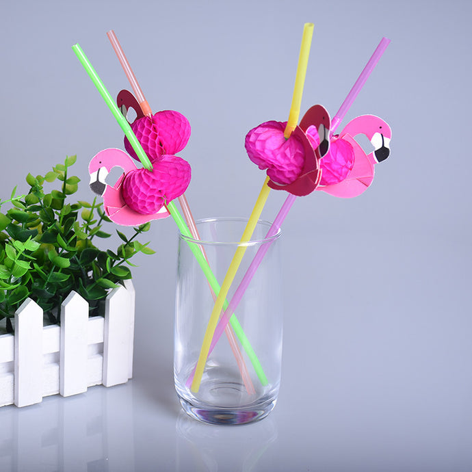 25pcs Mix Color Flamingo Straws