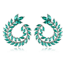Blue Round Leaves Earrings