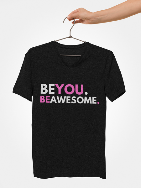Be You. Be Awesome (DJ Raphi) - Unisex V-neck T-shirt (Pink)