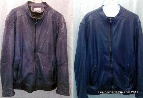 Leather cleaning before and after picture, blue leather with milk spills.