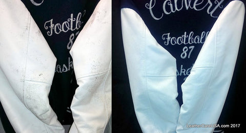 Leather cleaning before and after picture, letterman jacket refinished