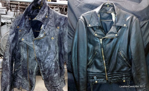 Leather jacket cleaning, moldy leather before and after picture