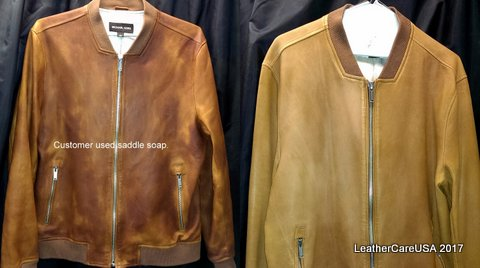 LeatherCareUSA.com | Before and after | Customer used saddle soap on leather jacket.