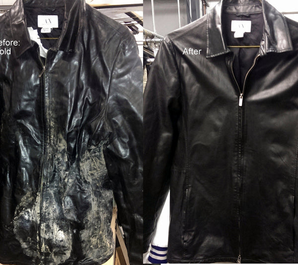 Black leather jacket with mold before and after picture.
