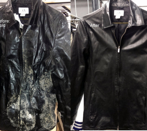 Black leather jacket with mold before and after cleaning and refinishing.