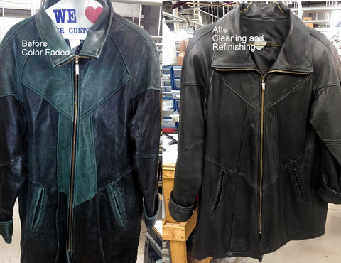 refinishing on black leather jacket, before and after picture.